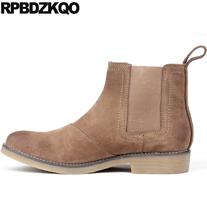 Зимние ботинки челси осень Европейская обувь Мужские ботинки с Мех животных ботильоны высокое качество короткие коричневый плюс Размеры т