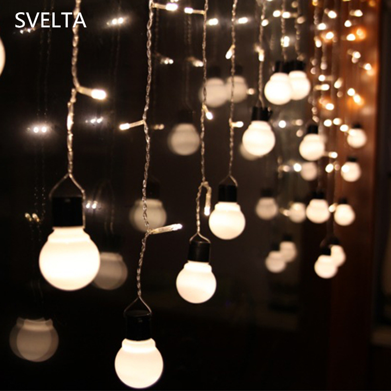 SVELTA 5CM Globe Big Ball LED Curtain Lights LED Retro Garland - Pencahayaan liburan