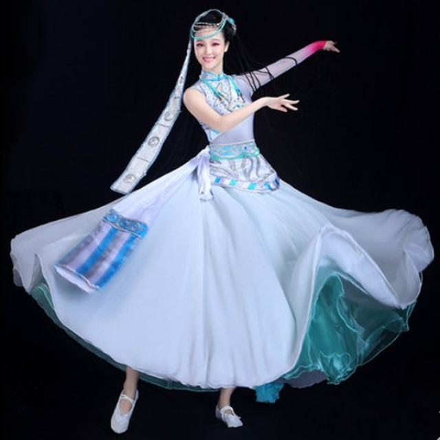 women Tibetan Dance Costume without hair accessories Tibetan Mongol National Performance Costume Female festival dance dress
