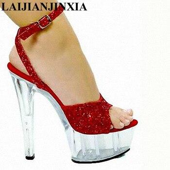 LAIJIANJINXIA 15CM Transparen Platform Sexy Open Toe High Heels Romantic Sandals Shoes Party Queen Show Dance Women's Shoes