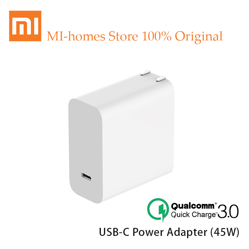 Original Xiaomi Mi USB-C Charger 45W Output Rate Socket Power adapter Type-C Port USB PD 2.0 Quick Charge QC 3.0 + Type C usb type c pd charger 75w 4 ports usb c pd quick charge 3 0 smart desktop charger with power delivery for xiaomi air dell xps