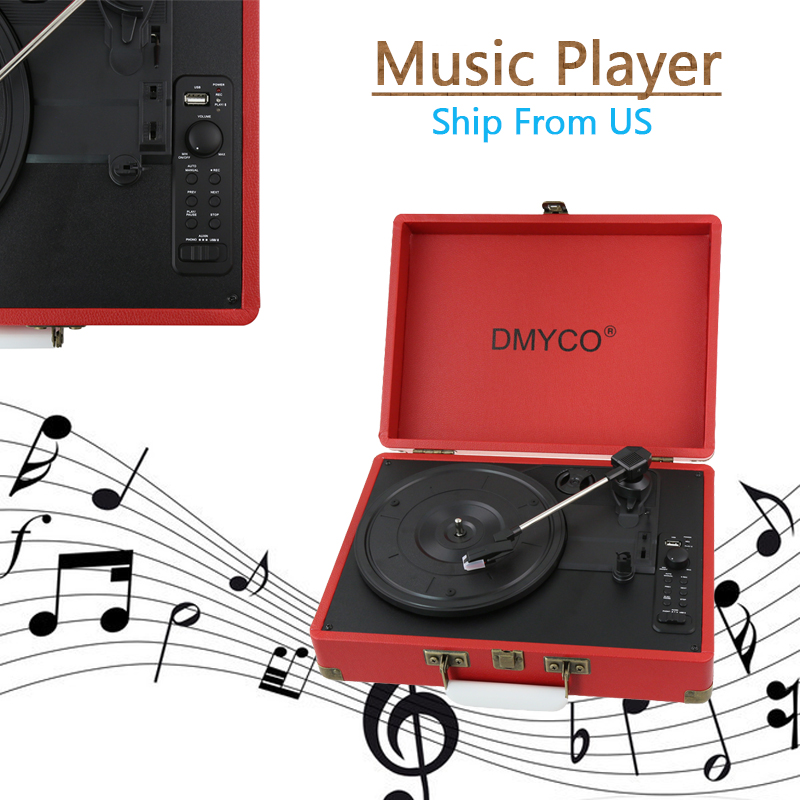 Portable Stereo gramophone Home Turntable USB Portable suitcase vinyl machine Antique Vintage LP phonograph record Audio player купить недорого в Москве