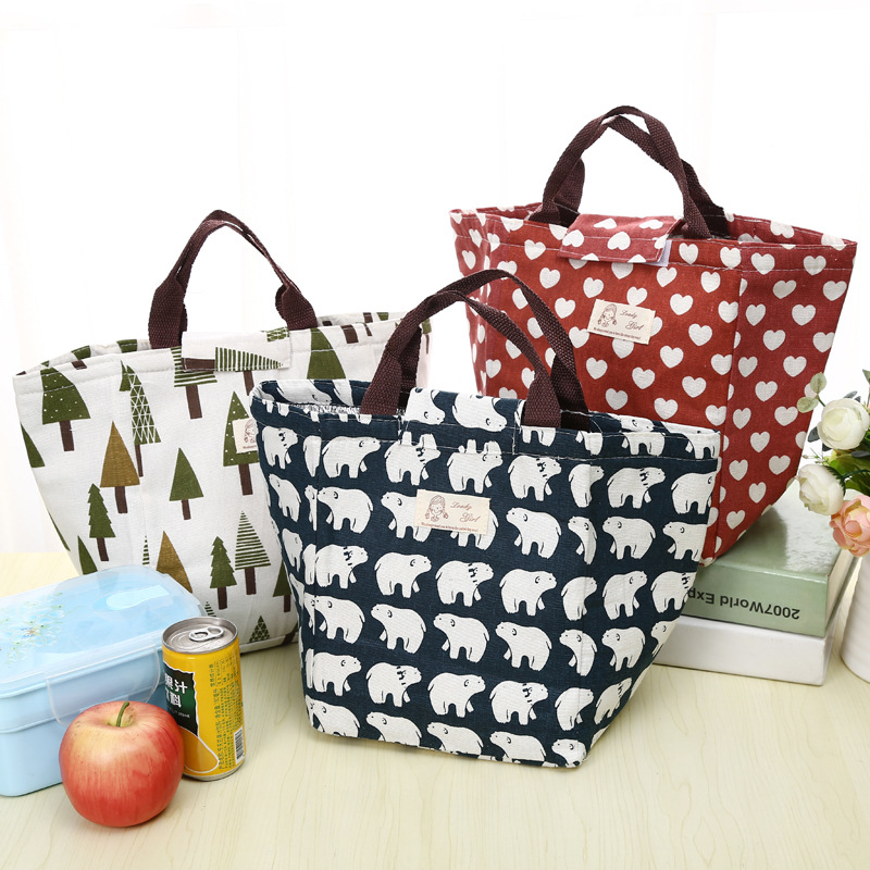 eTya Fashion Portable Insulated Canvas lunch Bag Thermal Food Picnic Lunch Bags for Women kids Men