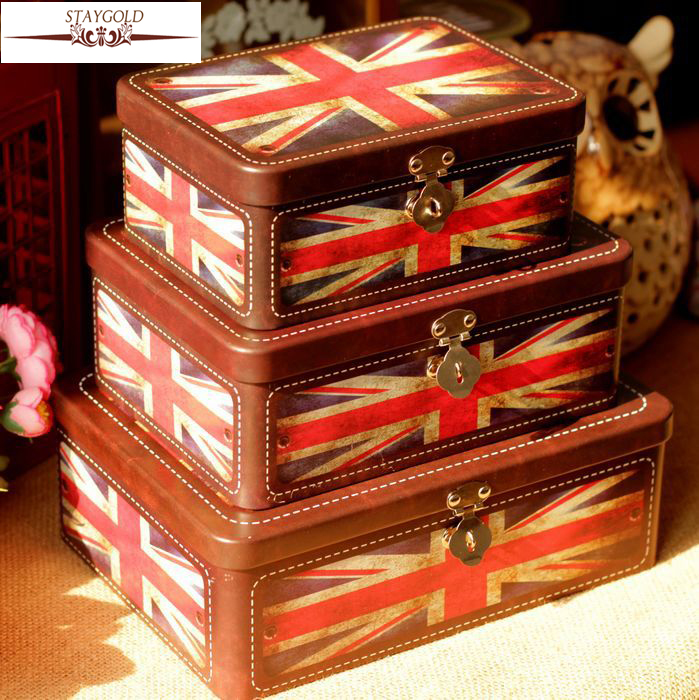 Retro Tin Box Gift British Flag Pattern Lock Decorative Box Vintage Home Decor Metal Des ...