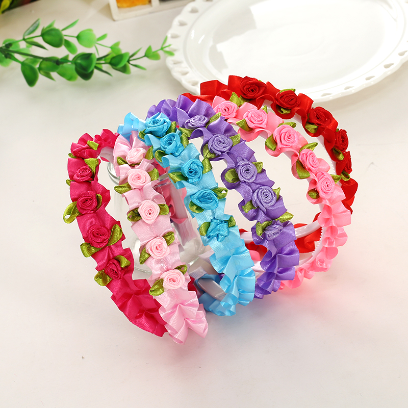 M MISM Ribbon Rose Flower Lace Hair bands Cute Lovely Headband For Girls Sweet Hair Accessories Ornaments Hair Hoop Kids love crown solid hair accessories for women headband elastic bands for hair for girls hair band hair ornaments for kids