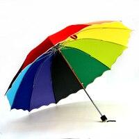 112 см большой радуги зонтик 12 ребра арматуры супер ветрозащитный Для женщин зонтик высокое качество 3 складной зонт
