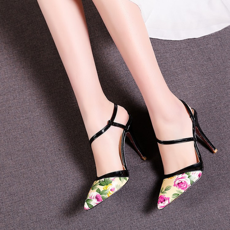 Plus Size 34 48 Summer High Heels Sandals Dress Pointed Toe Bandage lady Pumps sexy Women Printing Leather party Wedding shoes in High Heels from Shoes