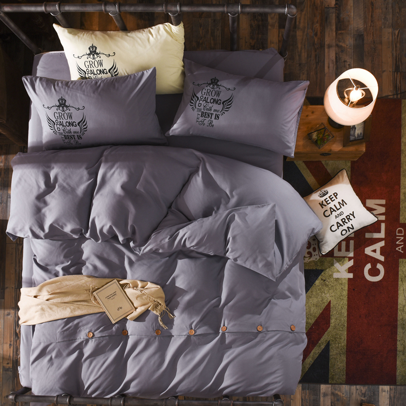 Dreamworld Soft Solid Bedding Set Gray blue yellow brown Bed Linen Set Button Design Solid Duvet
