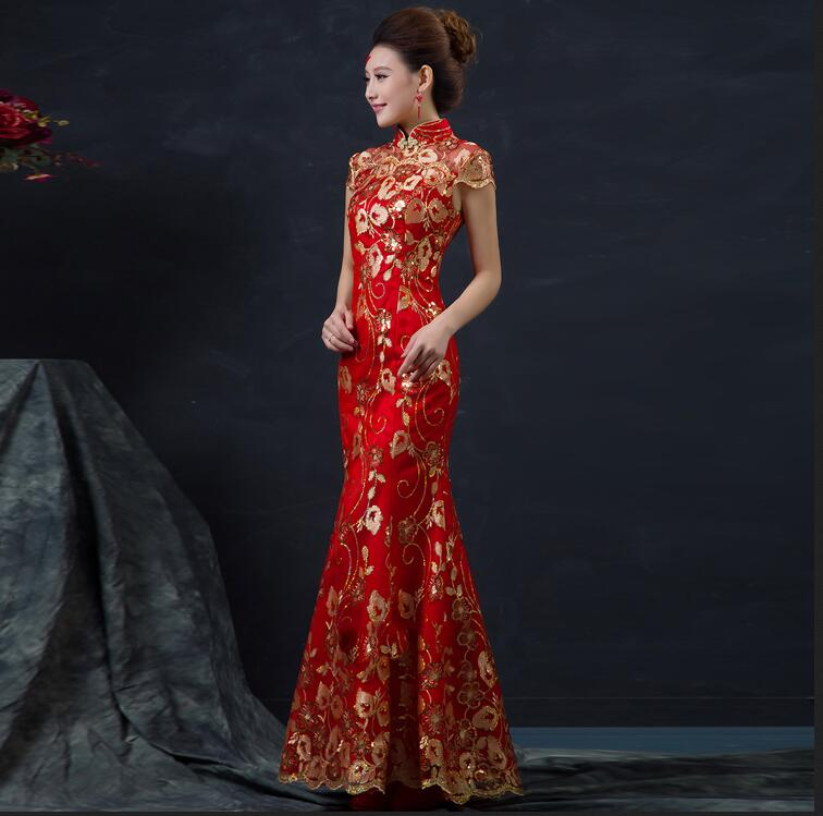 promotion spéciale achat original matériaux de haute qualité € 28.9 49% de réduction|Robe de mariée chinoise rouge femmes à manches  courtes Cheongsam or mince robe traditionnelle chinoise Qipao pour la fête  de ...