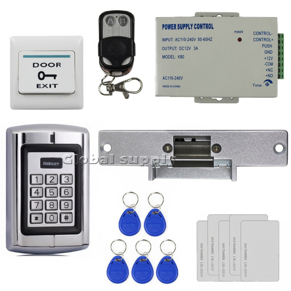 DIYSECUR Remote Control RFID 125KHz Metal Keypad Door Access Control Security System Kit +  Strike Door Lock BC2000