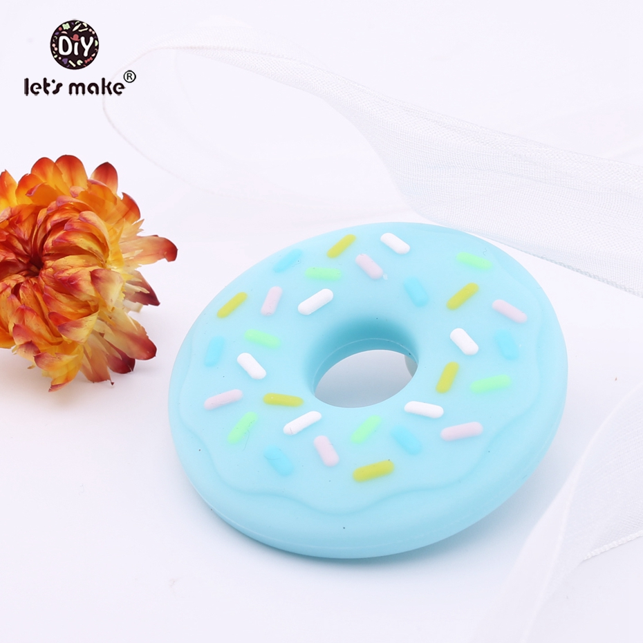 Let's Make Baby Teether Silicone Donut BPA Free Food Grade Nursing Necklace Charms Pendant Teething DIY Accessories Teethers