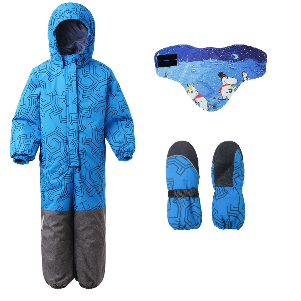 Moomin 2018 winter snow jumpsuit Polyester waterproof overall mitten set Unisex blue Zipper Fly Straight warm winter overall