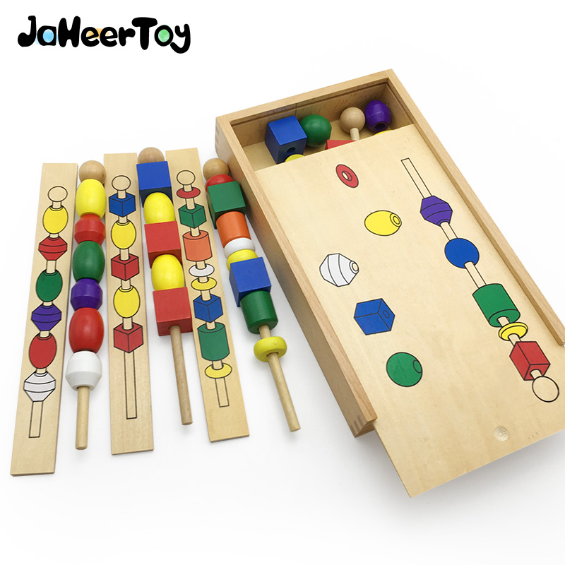 JaheerToy Montessori Early Childhood Toys Wooden Baby Toy for Children Chromatic Bead Building Blocks Geometric Assembling 50pcs hot sale wooden intelligence stick education wooden toys building blocks montessori mathematical gift baby toys