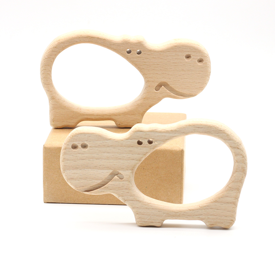 10pcs Big Hippo Shape  Beech Pendent  Wooden Teether Hand Carving Animal Teether  Baby Wood Teether Pacifier Clip Parts