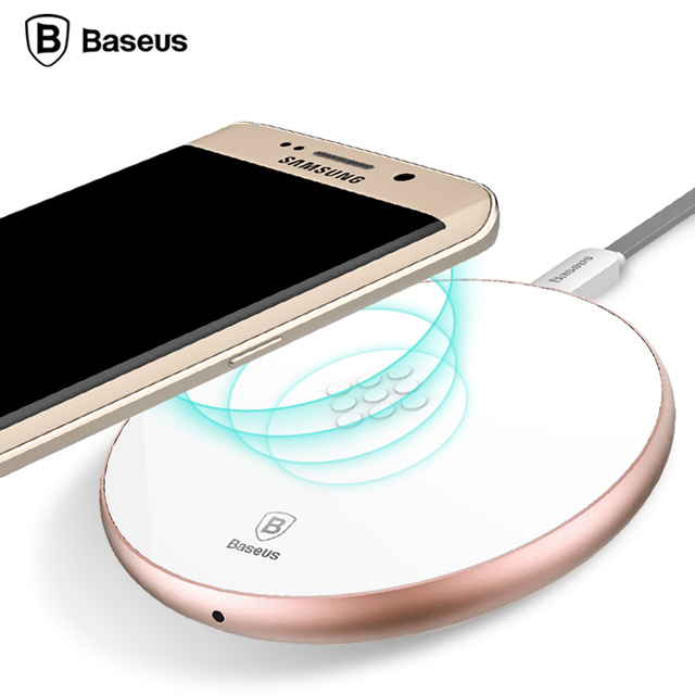 Baseus Qi Wireless Charger for Samsung note 5 S6 edge plus for Nokia LG Aluminum Alloy Ultra Slim Fast Charger white