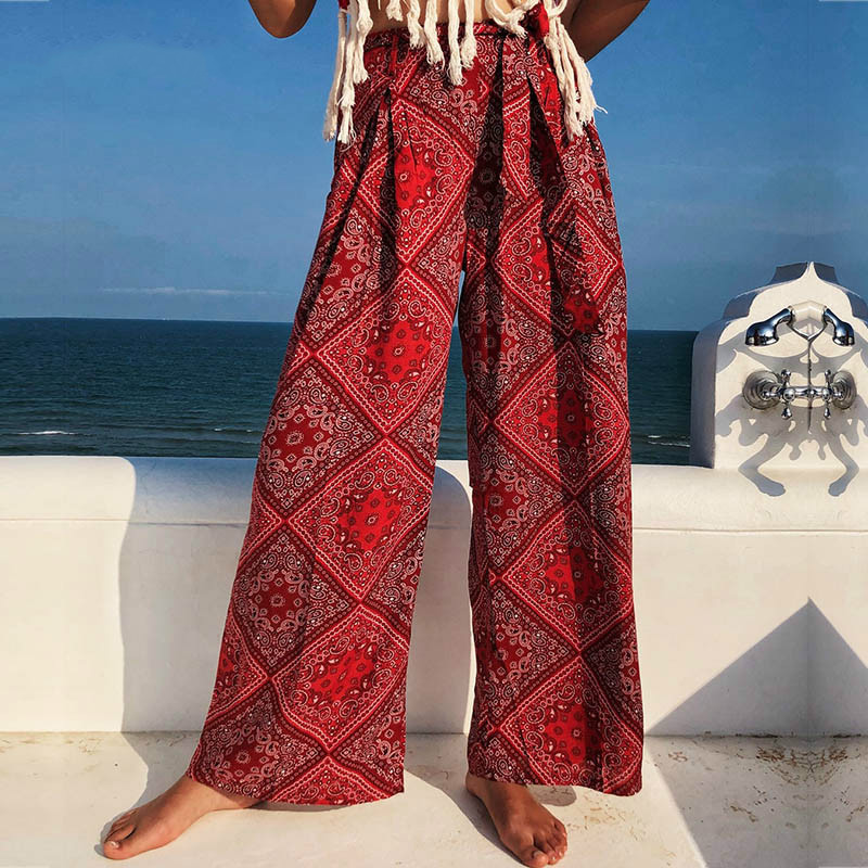 Red Loose   Wide     Leg     Pant   Women High Waist Female   Pant   Summer 2019 Belt Bow Tied Print Bohemian Straight Trousers