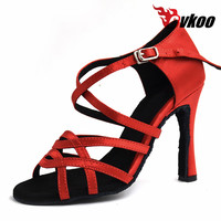 Satin Black And Tan Color For Your Choice 8 5cm Heel Latin Dance Shoes For Ladies