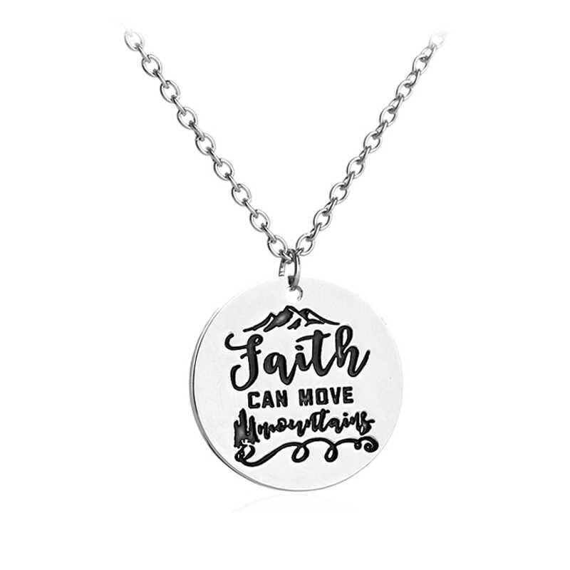 A fé Pode Mover Montanhas Deus Jesus Bíblia Cristã Inspirado Pingente de Colar de Jóias