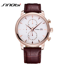 SINOBI Chronograph Auto Date Leather Strap Watches Men Luxury Brand Fashion Casual Quartz Gold Watch Male Hour Relogio Masculino