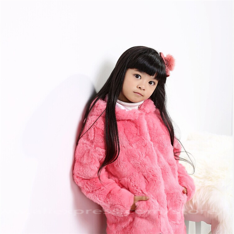 2017 Children's Rabbit Fur Coats Girls Autumn Winter Fur Warm Thick Clothing Long Section Solid Casual Outwear Coat Jackets C#1 winter kids rex rabbit fur coats children warm girls rabbit fur jackets fashion thick outerwear clothes
