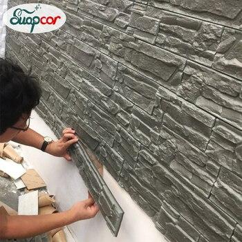 Pegatina autoadhesiva 3D para pared, papel pintado impermeable de ladrillo para habitación de niños, papel pintado con patrón, Mural, adhesivo de espuma de bricolaje para sala de estar y dormitorio