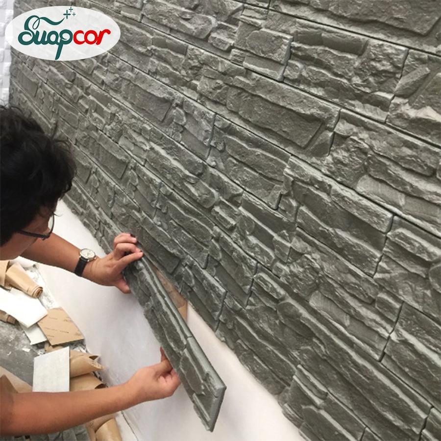 Self Adhesive 3D Wall Sticker Kids Room Waterproof Background Brick Pattern Wallpaper Mural Living Room Bedroom DIY Foam Sticker