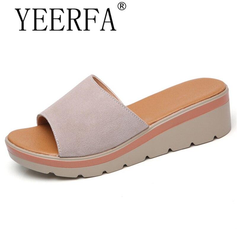 2018 summer slippers women flat platform sandals shoes beach shoes slip-on round toe leather suede slides flip flops