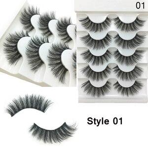 Image 5 - 5 пар 3D Искусственные норковые волосы, мягкие искусственные ресницы, искусственные ресницы, толстые ресницы ручной работы, мягкие натуральные инструменты для макияжа глаз