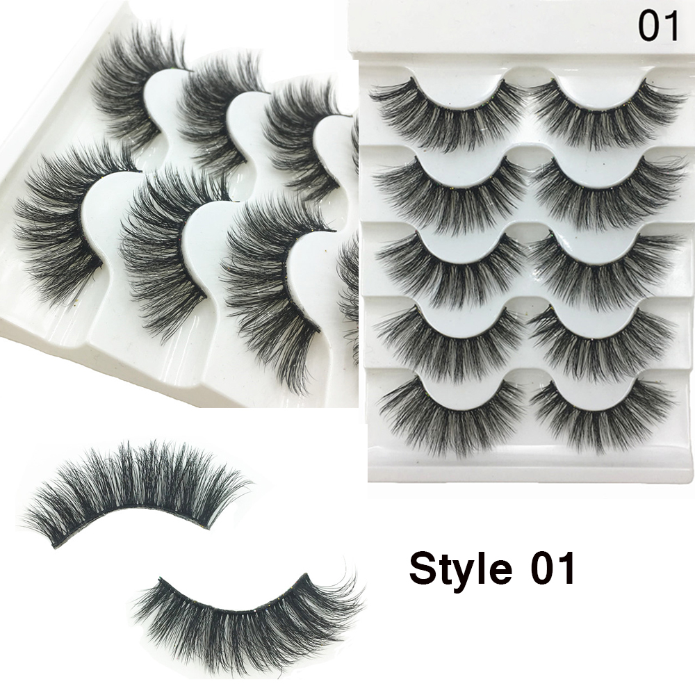 Image 2 - 5 Pairs 3D Faux Mink Hair Soft False Eyelashes Fluffy Wispy Thick Lashes Handmade Soft Natural Eye Makeup Extension Tools-in False Eyelashes from Beauty & Health