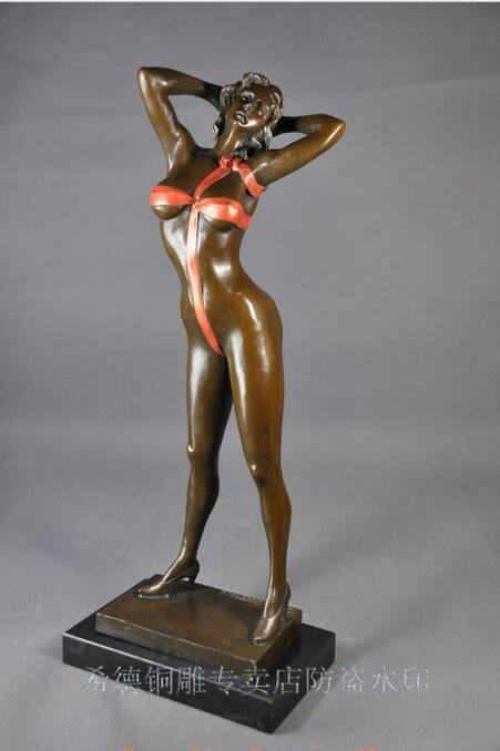 Free Art Deco Sculpture Sexy Beautiful Naked Woman Bronze Statue Fast