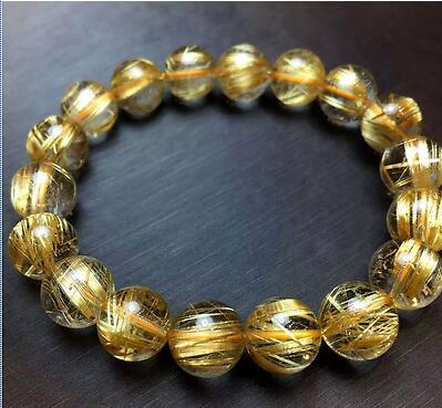 font b Jewelry b font Natural Gold Rutilated Quartz Translucent Beads Men Bracelet 6A 10