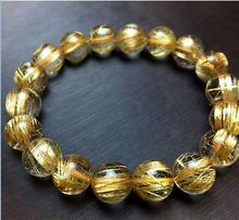 Jewelry Natural Gold Rutilated Quartz Translucent Beads Men Bracelet 6A 10 mm>jewerly free shipping