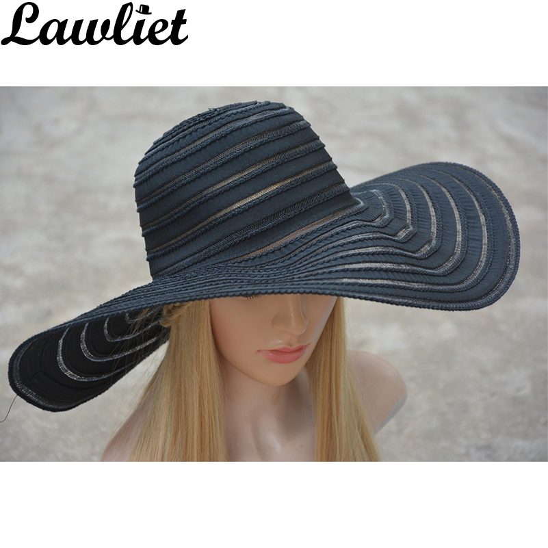 Kentucky Derby Hat 2017 Summer Fesyen Lady Sun Hat Pantai Cap Shading poliester Wide Lebar Solid Stripes Topi Wanita Sun Topi A269
