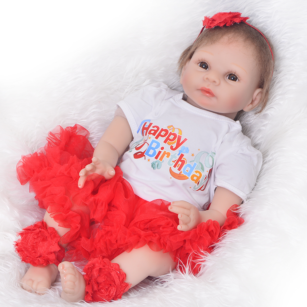 22'' Cloth Body Newborn Dolls Realistic Soft Silicone Vinyl Reborn Babies Girl Birthday Gift Fashion Dolls Reborn Doll Brinquedo new fashion design reborn toddler doll rooted hair soft silicone vinyl real gentle touch 28inches fashion gift for birthday