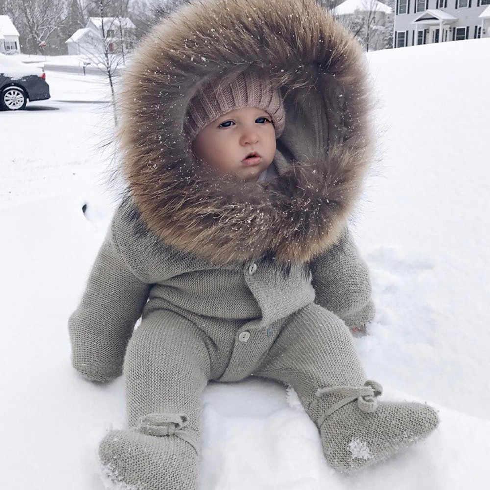 Одежда для маленьких девочек, коллекция 2019 года, зимний комбинезон с капюшоном для маленьких мальчиков и девочек, трикотажная теплая верхняя одежда, roupa infantil menina