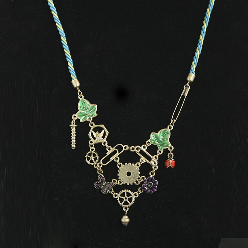 Women Special store vintage alloy leaf patten flower butterfly bell charm short chokers necklace chain