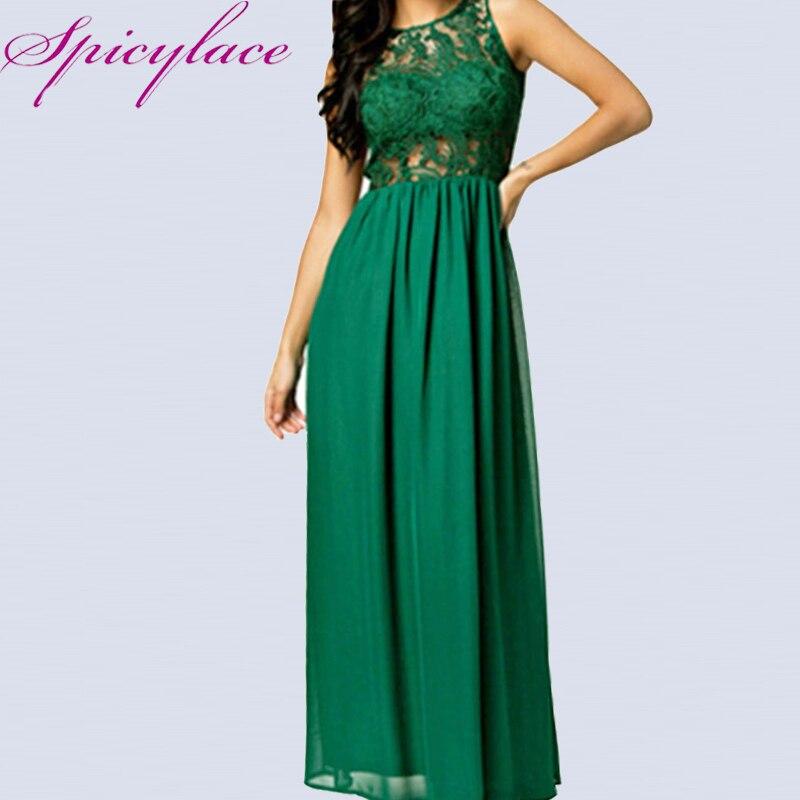 Dámské Sexy Backless zelená krajka dlouhé šaty Patchwork 2018 dno-délka duté out bez rukávů pletené Party Eventing šaty