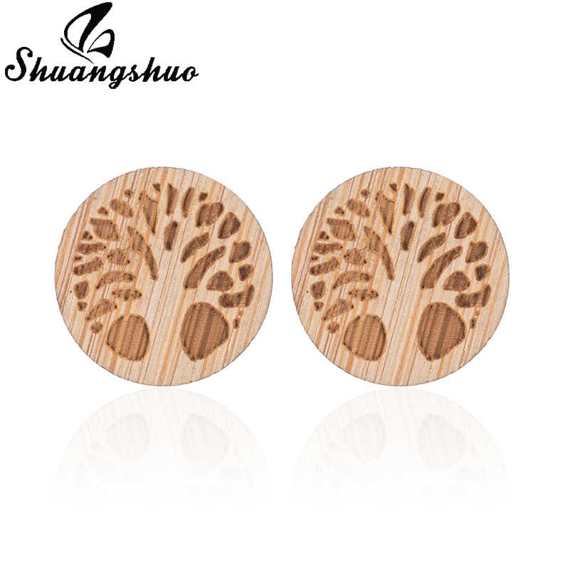 Shuangshuo drzewo życia kolczyki kobiety grawerowanie laserowe drewniany wzór drzewa okrągły kolczyk moda mujer biżuteria moda Pendientes