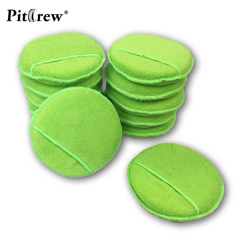 (10pcs/lot ) Plus Size Car Washer Green Microfiber Wax Applicator Polishing Sponges Pads With Pocket Car&Motorcycles Accessories
