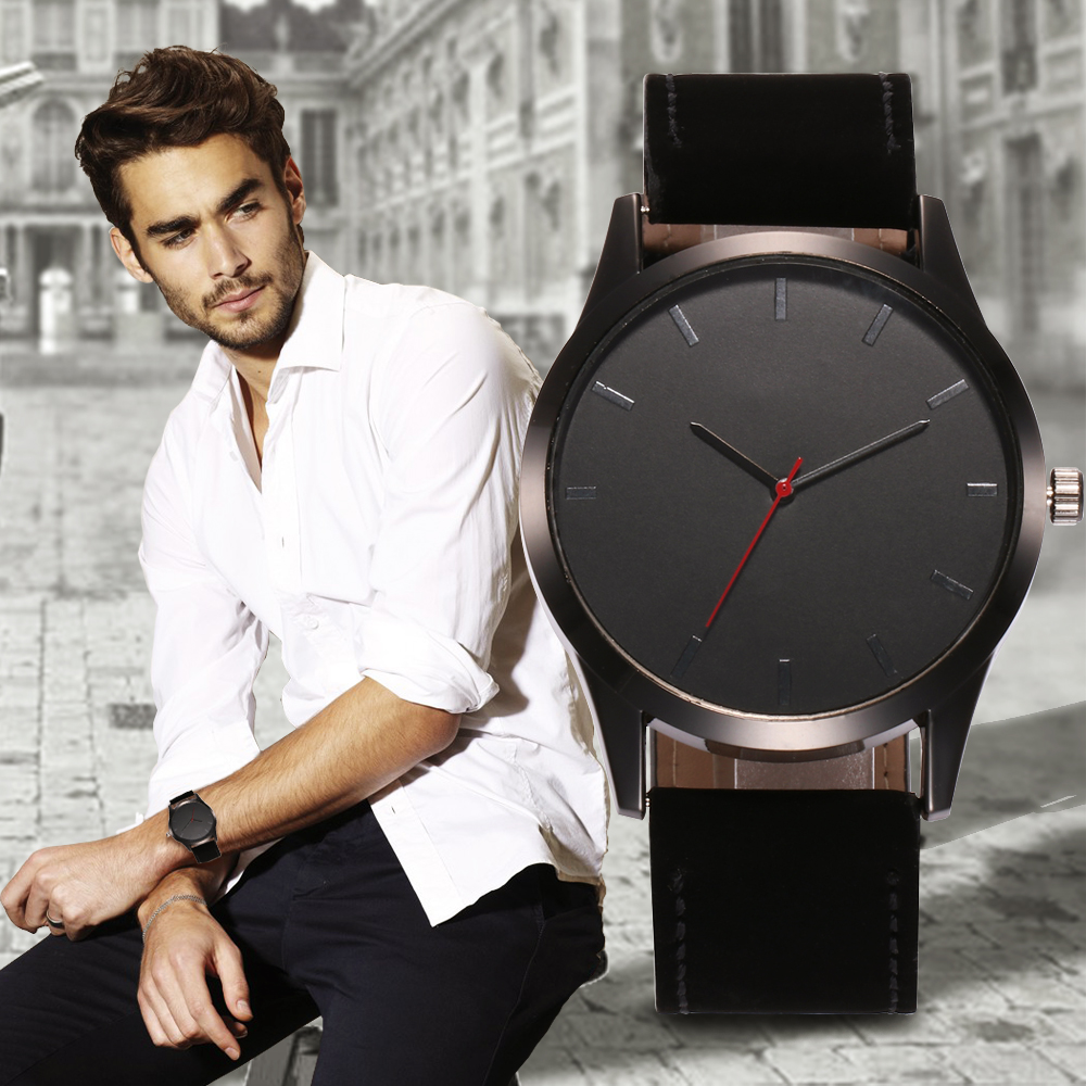 Reloj 2019 Fashion Large Dial Military Quartz Men Watch Leather Sport Watches Relogio Masculino High Quality Clock Wristwatch