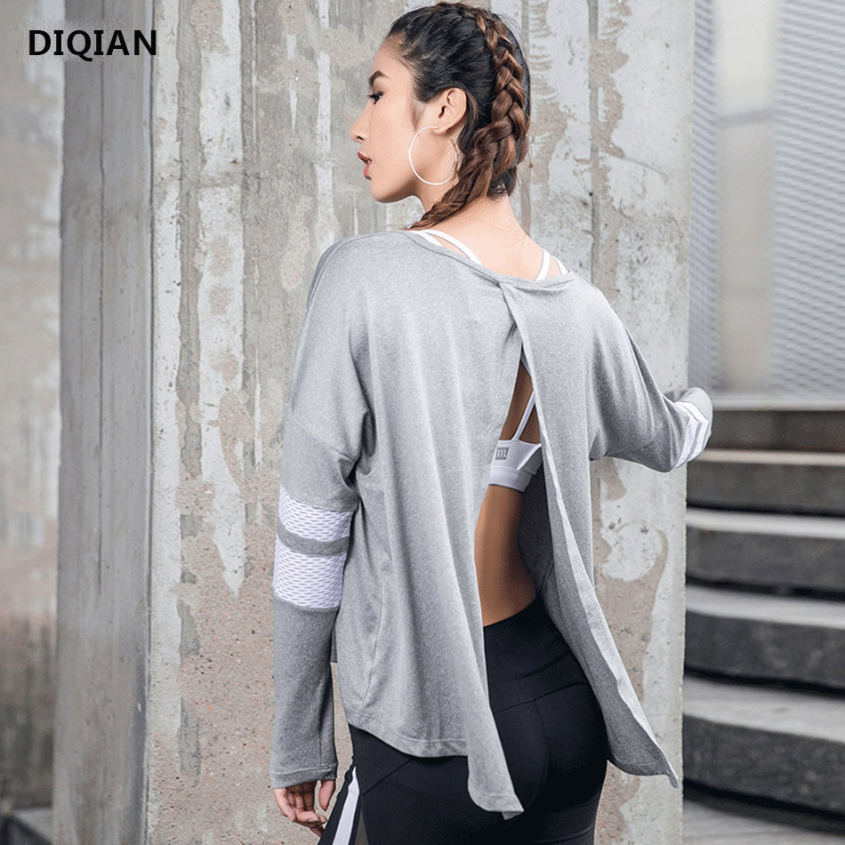 Women Loose Open Back Yoga Tops Workout Backless Top