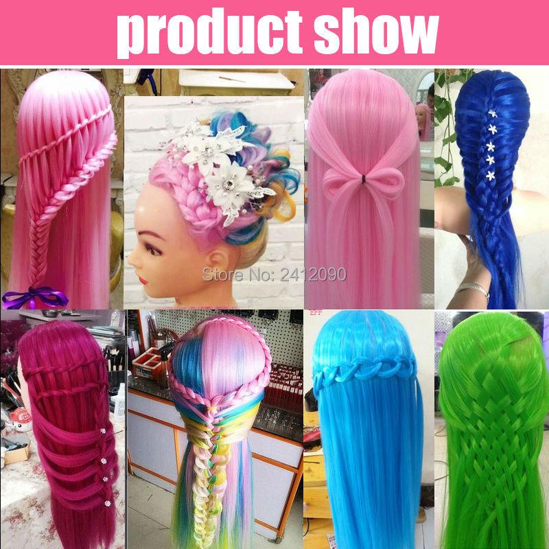 Tête de Mannequin de coiffeur coloré 22 ''Yaki Mannequins de cheveux femmes Mannequin poupée factice tête de perruque tête de style professionnel + pince - 5