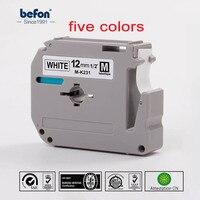 5 teile/los Mischfarbe Thermodrucker Band für Brother M-K231 MK23 MK 231 K231 für p-touch p touch Etikettendrucker Band