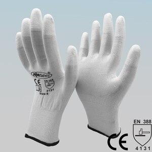 Image 4 - NMSAFETY 24Pcs/12 זוגות אנטי סטטי ESD בטיחות כפפת עם סרוג ניילון טבילה PU אצבע אוניברסלי כפפה