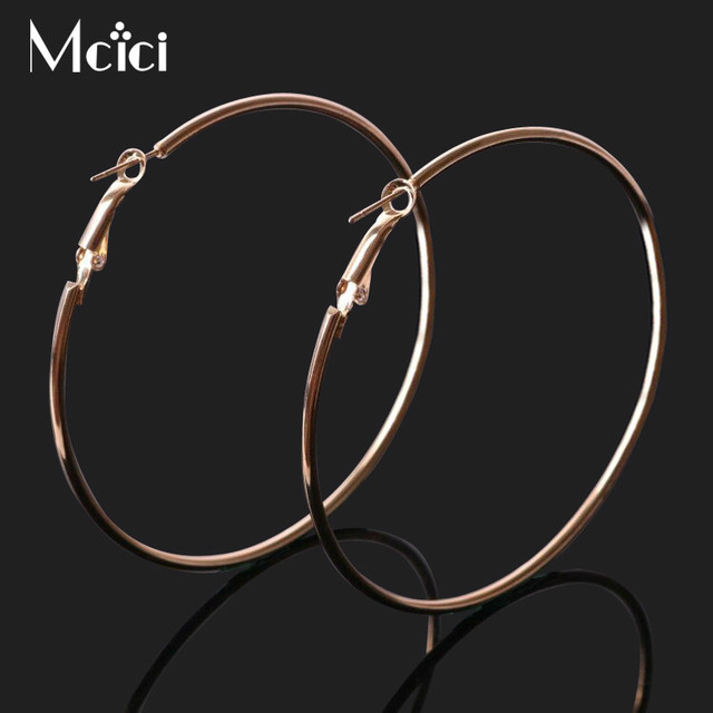 Big Circle Hoop Earrings for Women Gold Silver Colors Simple Trendy Small Steamp