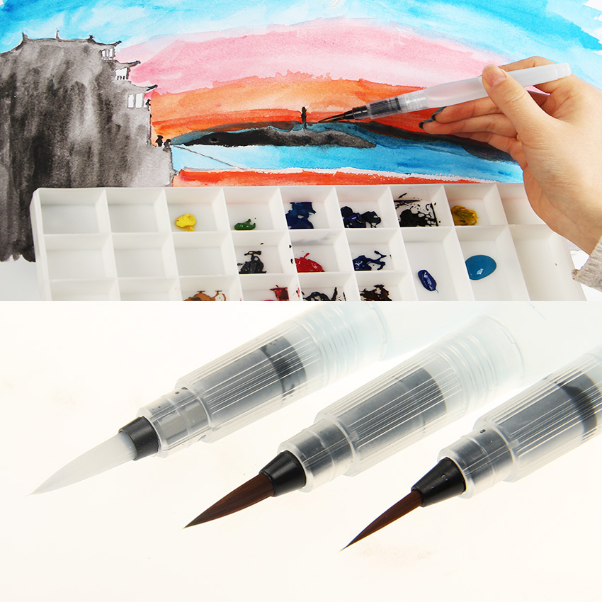 цена 1PC Stylish Superior Paint Brush Water Brush Water Tank Calligraphy Brush Pen Watercolor в интернет-магазинах