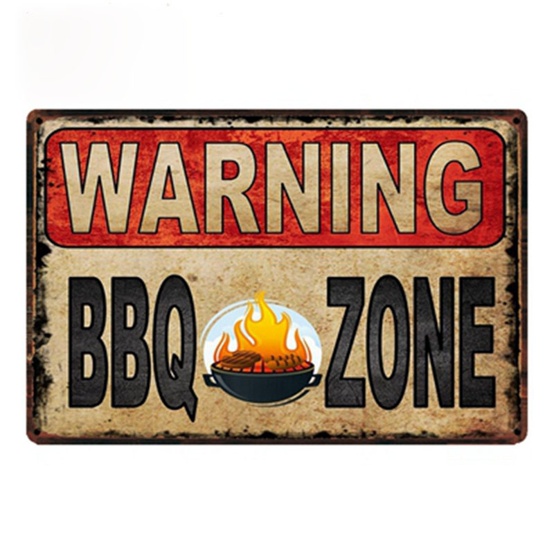 warning BBQ zone! metal signs vintage tin plate wall decoration for cafe home office gym garage barwarning BBQ zone! metal signs vintage tin plate wall decoration for cafe home office gym garage bar