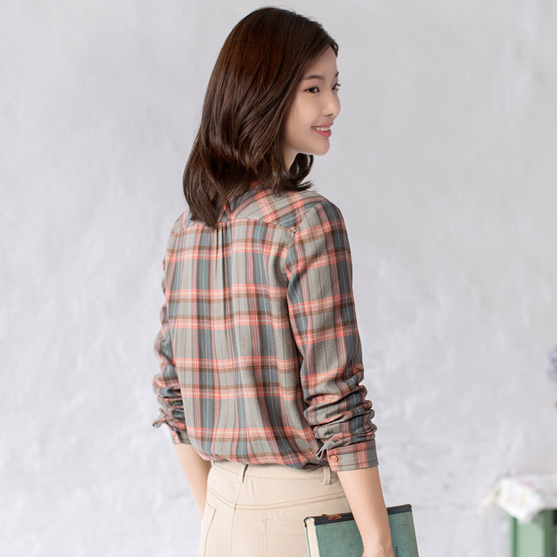 Image 5 - INMAN Women's Autumn Florals Plaid all match long sleeves Shirt Tops-in Blouses & Shirts from Women's Clothing