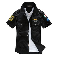 Military Shirt Men Slim Fit Male Short Sleeve Cotton Bomber Pilot Uniform Tactical Air Force One