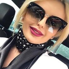 COOLSIR Newest Semi-Rimless Sunglasses Women Brand Designer Clear Lens Sun Glasses For Fashion Sunglass Vintage Oculos